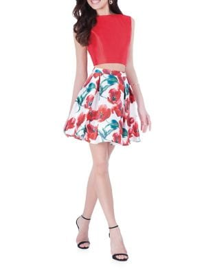 Two-Piece Floral Top & Skirt by Glamour by Terani Couture