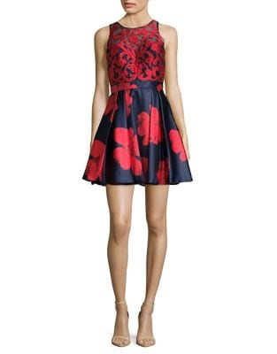Floral Sequin Fit-&-Flare Dress by Glamour by Terani Couture