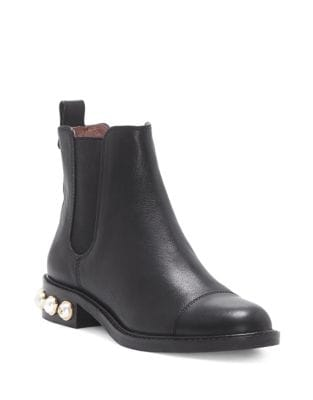 Vinn Leather Pearl Embellished Booties by Louise et Cie