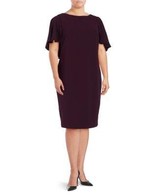Plus Flutter-Sleeve Sheath Dress by Calvin Klein