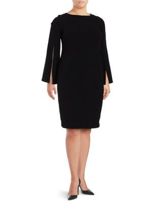 Photo of Plus Bell Sleeve Dress by Calvin Klein - shop Calvin Klein dresses sales
