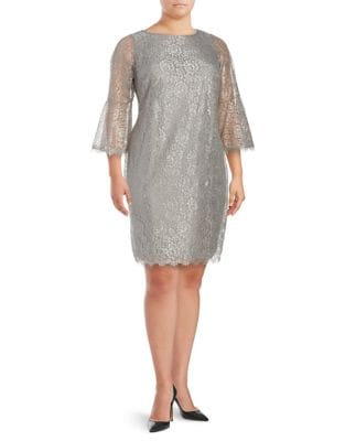 Plus Roundneck Lace dress by Calvin Klein