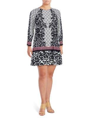 Plus Argyle and Floral-Print Dress by Eliza J