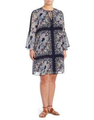 Photo of Plus V-Neck Chiffon Dress by Vince Camuto - shop Vince Camuto dresses sales