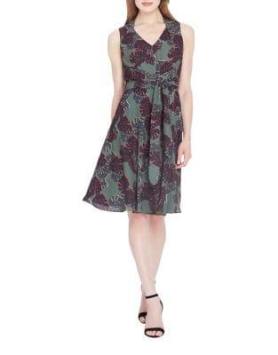 Palm Print Knee-Length Dress by Tahari Arthur S. Levine