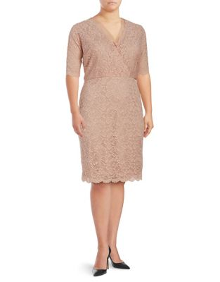Plus Embroidered Lace Dress by Ivanka Trump