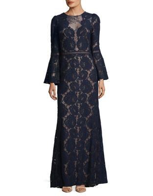 Bell-Sleeve Lace Floor-Length Dress by Tadashi Shoji