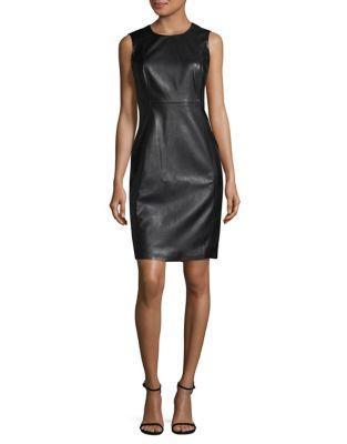 Faux Leather Sheath Dress by Calvin Klein