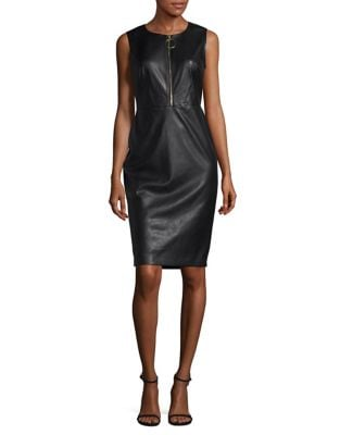 Quarter-Zip Faux Leather Sheath Dress by Calvin Klein