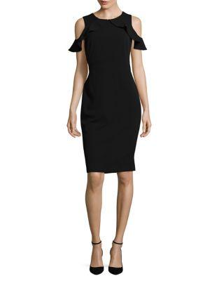 Cold-Shoulder Crepe Sheath Dress by Calvin Klein