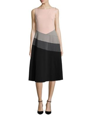 Colorblocked A-Line Dress by Calvin Klein