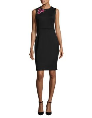 Floral-Accented Sheath Dress by Calvin Klein