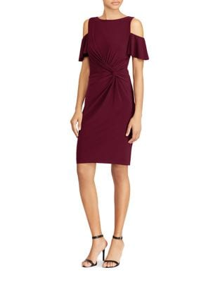 Photo of Knot-Front Cold-Shoulder Dress by Lauren Ralph Lauren - shop Lauren Ralph Lauren dresses sales