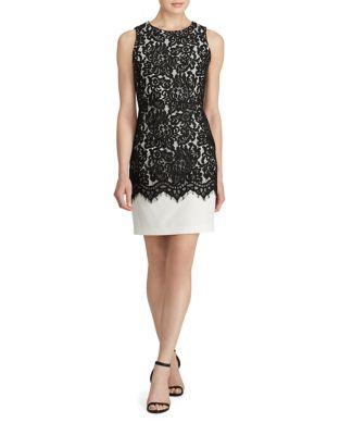 Sleeveless Lace Overlay Sheath Dress by Lauren Ralph Lauren