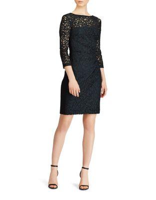 Three-Quarter Sleeve Lace Sheath Dress by Lauren Ralph Lauren