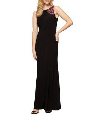 Plus Zip Sleeveless Long Dress by Alex Evenings