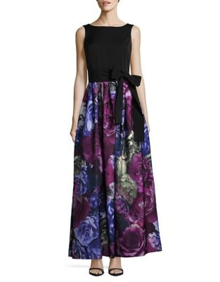 Floral Skirt Floor-Length Gown by Tahari Arthur S. Levine