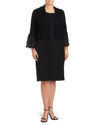 Plus Bell Sleeve Laced Blazer by Calvin Klein