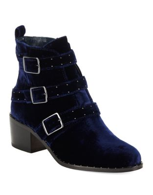 Finn Side Buckle Velvet Booties by 424 Fifth