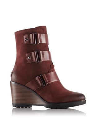 After Hours Suede Wedge Booties by Sorel