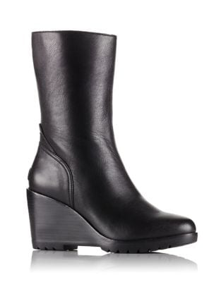 After Hours Leather Mid Wedge Booties by Sorel