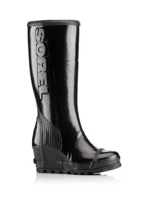 Joan Rain Wedge Tall Gloss Rain Boots by Sorel