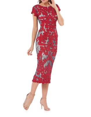 Stitched Floral Midi Dress by JS Collections