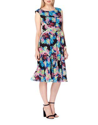 Watercolor Floral Side Tie Dress by Tahari Arthur S. Levine