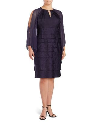 Plus Tiered Long-Sleeve Sheath Dress by London Times