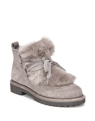 Highland Faux Fur Suede Ankle Boots by Franco Sarto