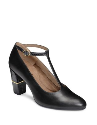 North Star Leather T-Strap Pumps by Aerosoles