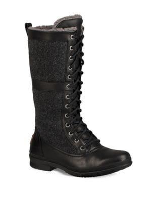 Elvia Rugged Sheepskin Fur Tall Boots by UGG