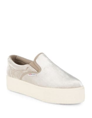 Platform Velvet Slip-On Sneakers by Superga