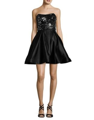 Metallic Strapless Dress by Betsy & Adam