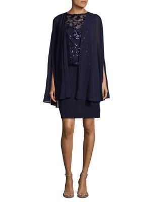 Lace Cape Dress by Tahari Arthur S. Levine