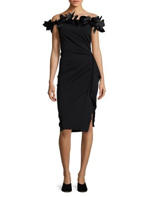 Feather Off the Shoulder Knee-Length Dress by Nicole Bakti