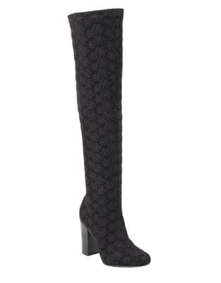 Rosette Faux Suede Over-the-Knee Boots by Mia