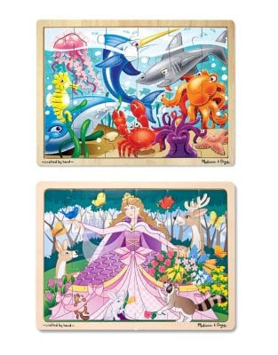 Set of Two Under The Sea and Woodland Princess 24Piece Wooden Jigsaw Bundle