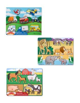 Set of Three Farm Vehicles and Safari Wooden Peg Puzzle Bundle