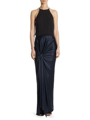 Photo of Halston Heritage Satin Floor-Length Gown