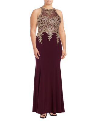 Plus Embellished Mermaid Gown by Xscape