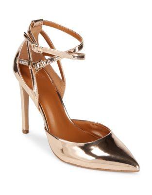 Lola Metallic Ankle Strap Pumps by H Halston