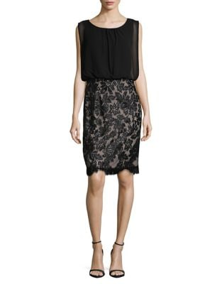 Lace Blouson Dress by Calvin Klein