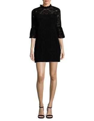Petite Velvet Lace Bell Sleeve Dress by Calvin Klein