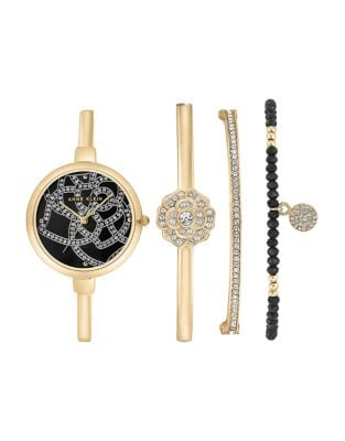 Four-Piece Crystal Bangle Watch and Bracelet Set