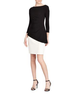 Petite Two-Tone Peplum Dress by Lauren Ralph Lauren