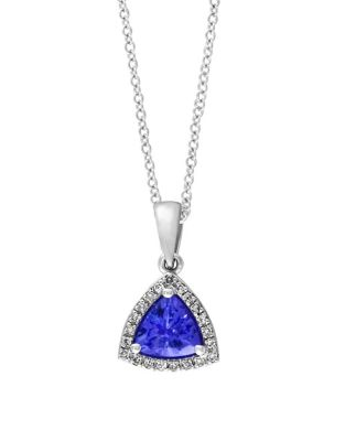 Tanzanite, Diamond and 14K White Gold Pendant Necklace