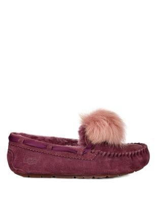 Dakota Fur Pom-Pom Suede Loafers by UGG