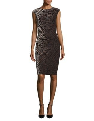 Printed Velvet Sheath Dress by Vince Camuto