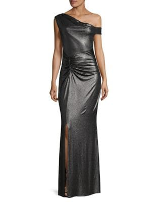 Shirred Floor-Length Gown by Laundry by Shelli Segal